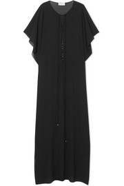 Lace-up silk-chiffon kaftan