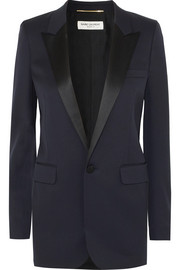 Saint Laurent Veste de smoking en laine grain de poudre à finitions en satin