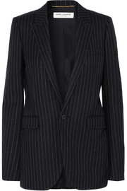 Pinstriped wool-twill blazer