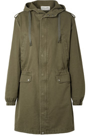 Hooded cotton blend-gabardine parka