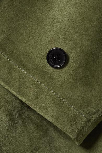 Saint Laurent Oversized-Oberteil aus Veloursleder mit Schnürung und Kapuze