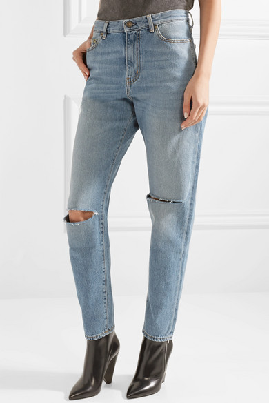 Saint Laurent Boyfriend-Jeans in Distressed-Optik