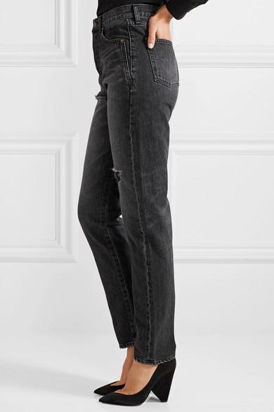 Saint Laurent Bestickte, halbhohe Jeans mit schmalem Bein in Distressed-Optik