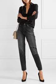 Embroidered distressed mid-rise slim-leg jeans
