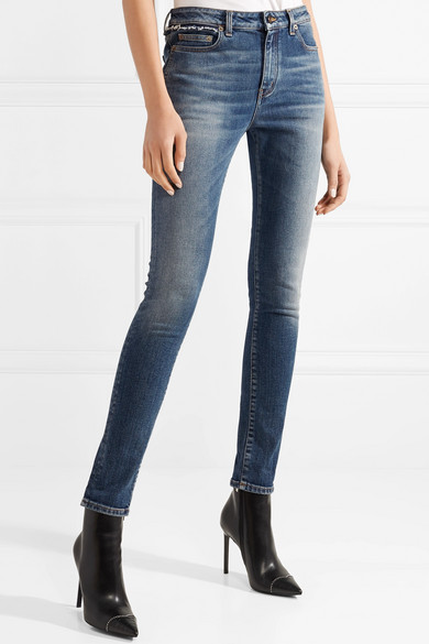 Saint Laurent Halbhohe Skinny Jeans in Distressed-Optik