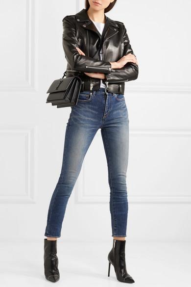 Saint Laurent Halbhohe Skinny Jeans in Distressed-Optik