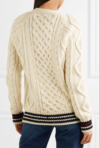 Saint Laurent Wool-cardigan With Cable Knit And Stripes
