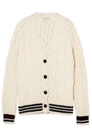 Saint Laurent Striped cable-knit wool cardigan