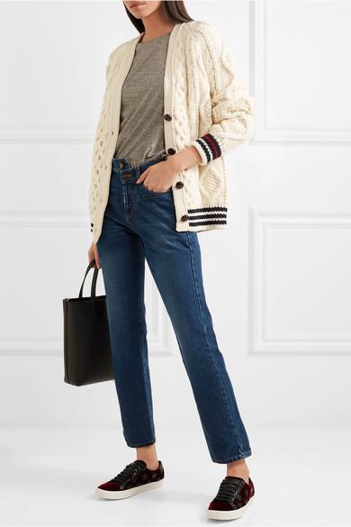 Günstig Kaufen Offiziellen Saint Laurent Woll-Cardigan mit Zopfstrickmuster und Streifen Freiheit Der Billigsten Verkauf Neuer Stile FeYZKCB