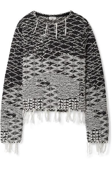 Saint Laurent Pullover aus Baumwoll-Jacquard mit Fransen Preiswerte Neue YLEsa
