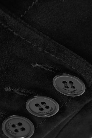 Saint Laurent Minirock aus Veloursleder mit Schnürung