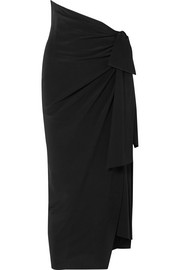 Draped asymmetric silk crepe de chine skirt
