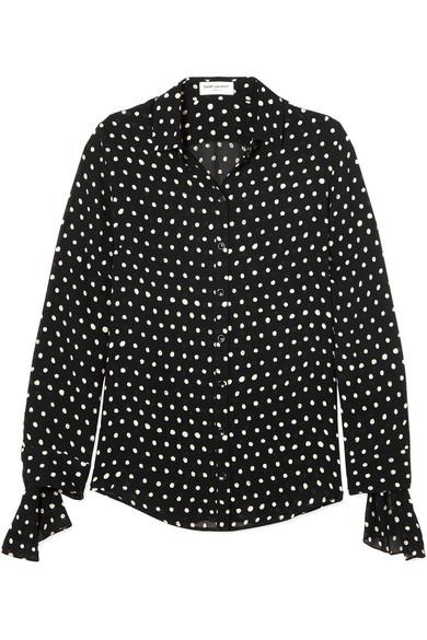 Saint Laurent Hemd aus Chiffon mit Polka-Dots