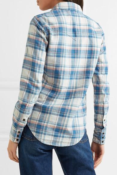 Sammlungen Saint Laurent Kariertes Hemd aus einer Baumwollmischung Beliebt Großer Verkauf Günstiger Preis u4eahS