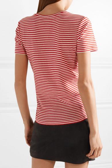 Saint Laurent Gestreiftes T-Shirt aus Baumwolle mit Flockdruck