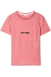 Saint Laurent Flocked striped cotton T-shirt