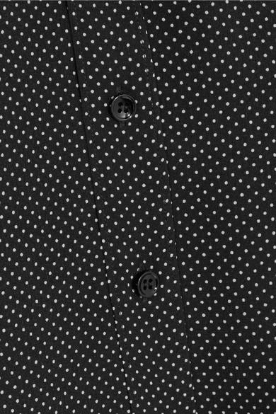 Saint Laurent Seidenhemd Aus Crêpe De Chine Mit Polka-dots