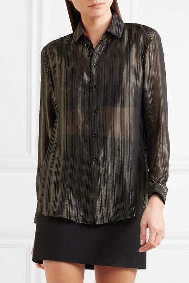 Saint Laurent Hemd aus Chiffon aus einer Seidenmischung mit Metallic-Streifen