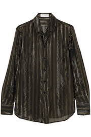 Metallic striped silk-blend chiffon shirt