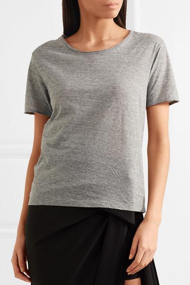 Saint Laurent Meliertes T-Shirt aus Baumwoll-Jersey