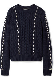 Fisherman whipstitched cable-knit wool sweater