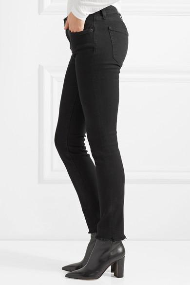 Nili Lotan Halbhohe Skinny Jeans mit Fransen