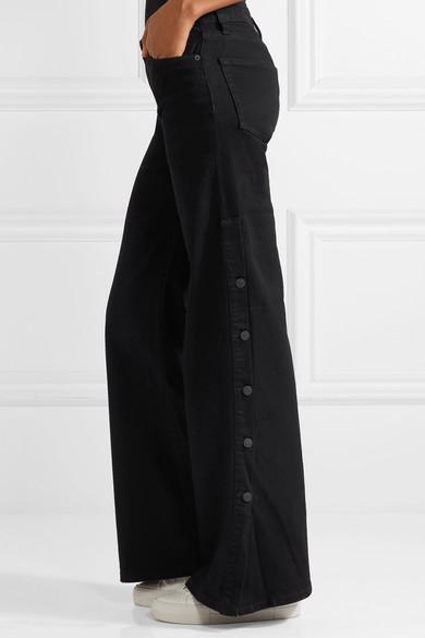 Nili Lotan Ena halbhohe Jeans mit weitem Bein und Knopfdetails