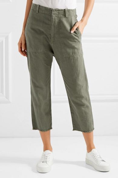 Nili Lotan Luna Shortened Trousers Made From A Cotton-twill-linen Blend