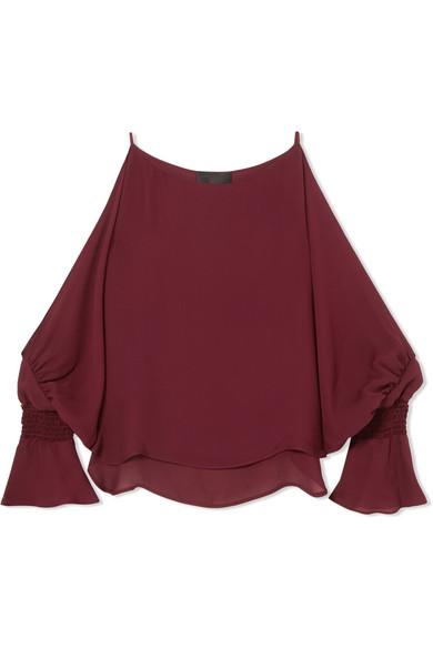 Nili Lotan - Devon Cold-shoulder Smocked Silk-crepe Blouse - Red