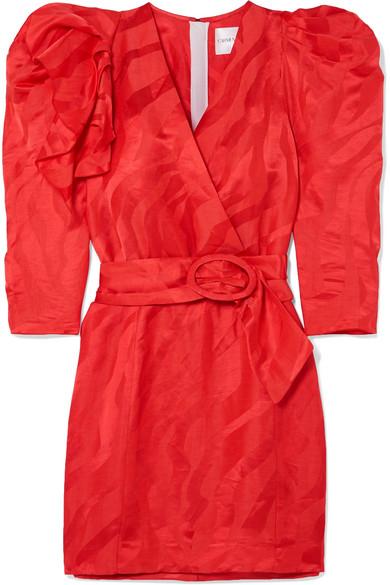 Carmen March RUFFLED LINEN-BLEND JACQUARD MINI DRESS