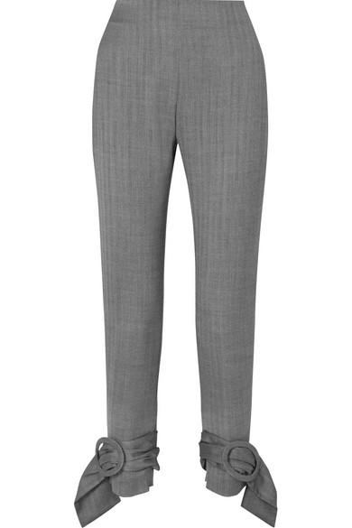 CARMEN MARCH Woman Buckle-Detailed Herringbone Wool Tapered Pants Gray