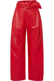 Carmen March Belted leather wide-leg pants