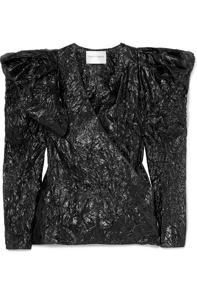Carmen March - Crinkled-lamé Wrap Blouse - Black