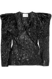 Crinkled-lamé wrap blouse