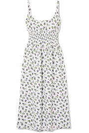 Emilia Wickstead Giovanna smocked floral-print crepe midi dress