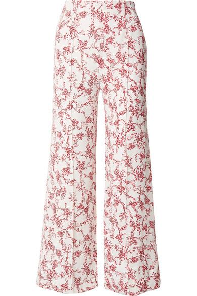 Emilia Wickstead Hullinie Hose mit weitem Bein aus Crêpe mit Blumendruck