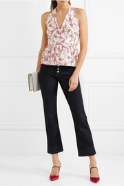Lucie floral-print crepe peplum wrap top