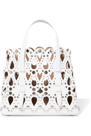 Micro studded laser-cut leather tote
