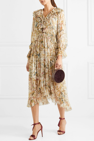 Ruffled Printed Silk Georgette Midi Dress by Zimmermann