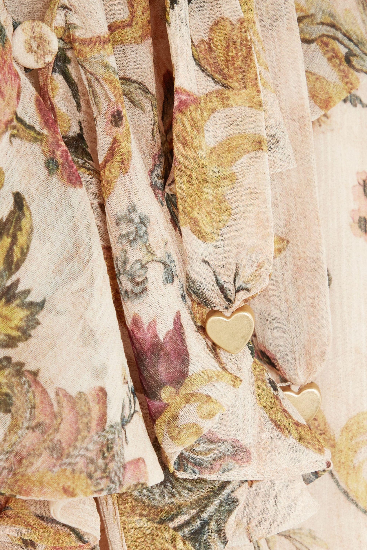 Zimmermann Ruffled printed silk-georgette playsuit