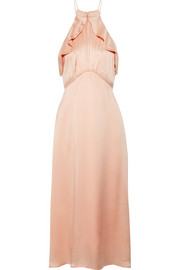 Zimmermann Ruffle-trimmed washed-silk midi dress