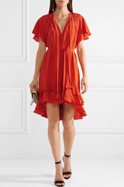 Flutter Smock ruffled silk crepe de chine mini dress
