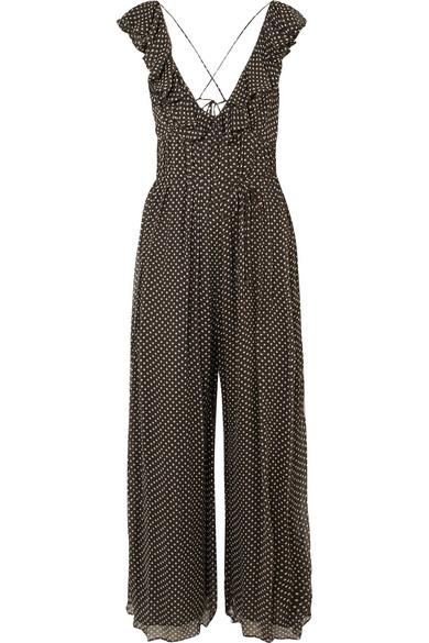 Zimmermann Cascade Jumpsuit aus Seiden-Georgette mit Rüschen und Polka-Dots