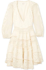 Zimmermann Lace-paneled embroidered cotton and silk-blend voile mini dress