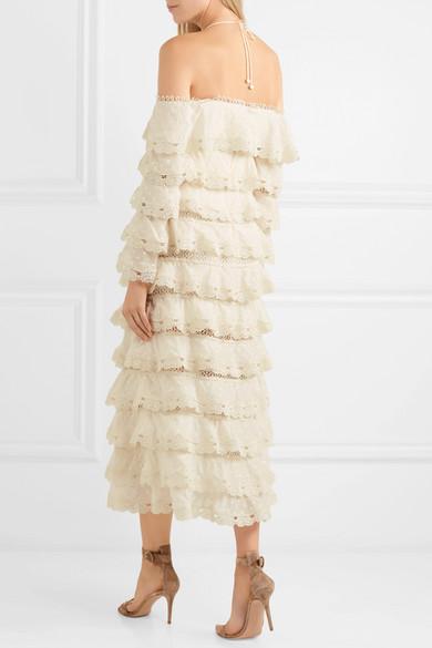 Zimmermann Gestuftes Kleid aus Gaze aus einer Baumwoll-Seidenmischung mit Spitzenbesatz