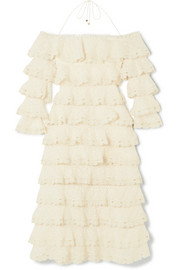 Zimmermann Tiered lace and cotton and silk-blend gauze dress