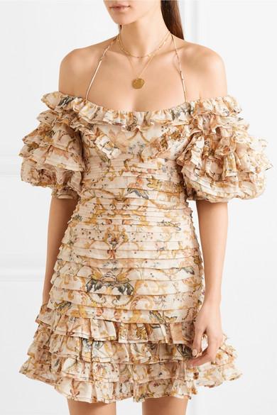 Zimmermann Schulterfreies Minikleid aus einer bedruckten Leinen-Seidenmischung