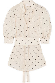 Zimmermann Embroidered cotton and silk-blend organza blouse