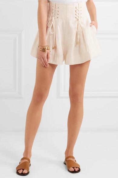Zimmermann Shorts aus Leinen mit Falten und Schnürung