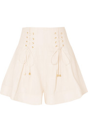 Zimmermann Lace-up pleated linen shorts